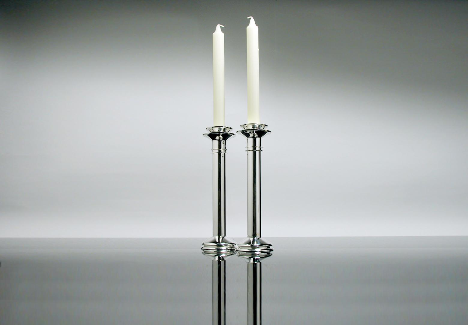 contemporary silverware - deco candlestickstall contemporary silverware by martyn pugh