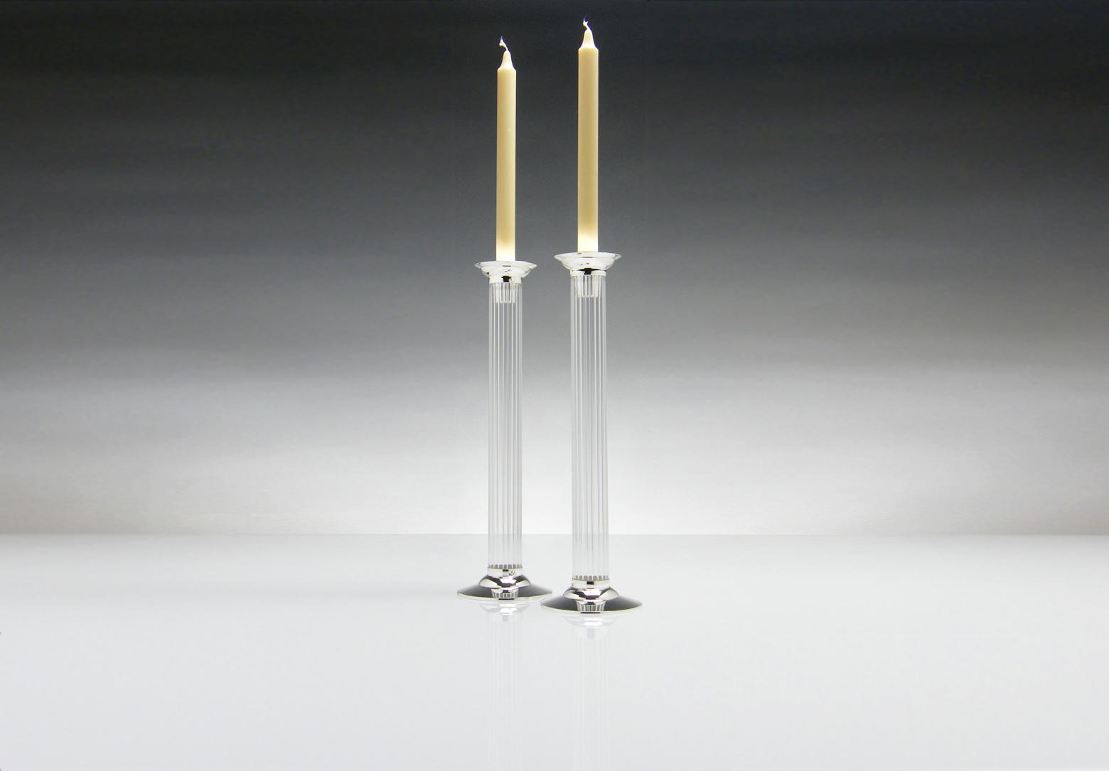 contemporary silverware - flute' tall candlesticks contemporary silverware by martyn pugh