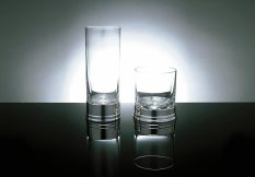 Whiskey Highball silver and glass tumblers