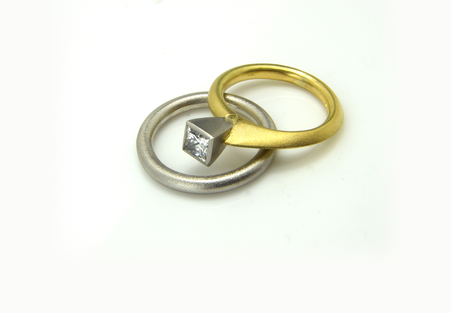 Asymmetric Square Diamond Ring