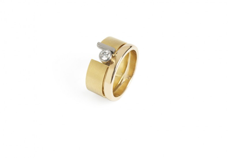 Preva Slide Round Diamond Ring Set