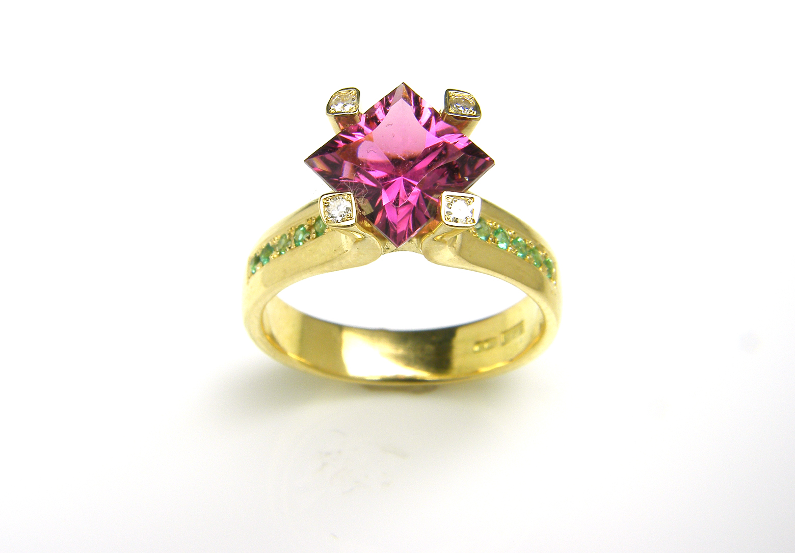 Flare Tourmaline & Emerald Ring